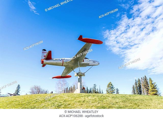 Roadside attraction, RCAF Lockheed T33 jet plane, Centennial Park, town of Edson, Alberta, Canada
