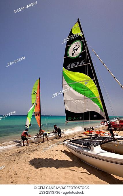 Windsurfers on the beach, Fuerteventura, Canary Islands, Spain, Europe