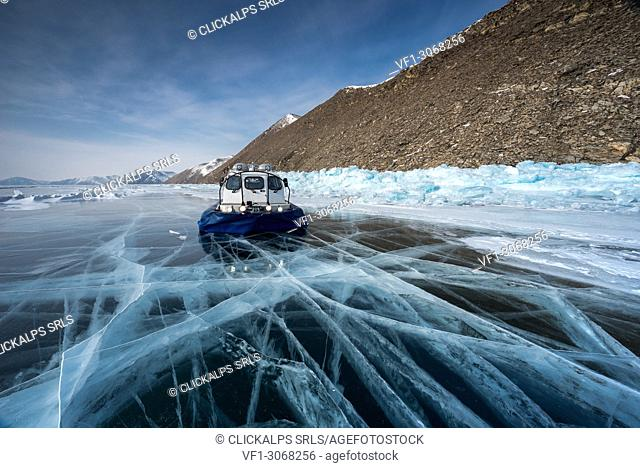 Hovercraft at lake Baikal, Irkutsk region, Siberia, Russia