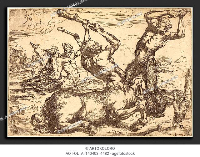 Circle of Jusepe de Ribera (Spanish, 1591 - 1652), Battle between a Centaur and a Triton, etching on laid paper