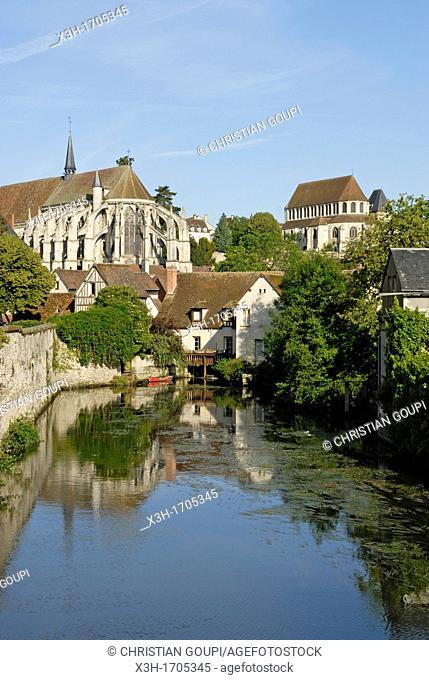 view along the Eure river with the Saint-Pierre Church, Chartres, Eure-et-Loir department, Centre region, France, Europe