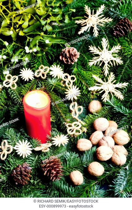 Christmas still life with a candle