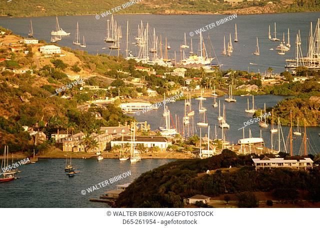 Historic Nelson's Dockyard from Shirley Heights in  Antigua. Antigua and Barbuda. West Indies. Caribbean