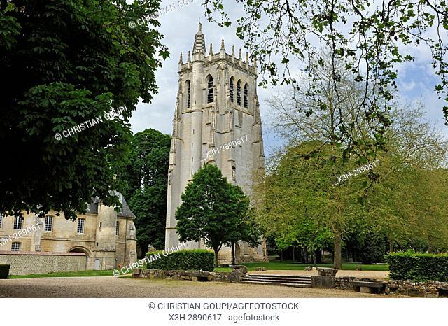 Tour Saint-Nicolas of Benedictine Abbey of Our Lady of Bec, Bec-Hellouin, labelled Les Plus Beaux Villages de France, Eure department, Normandie region, France