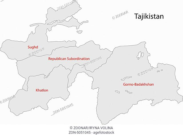 Grey Tajikistan map