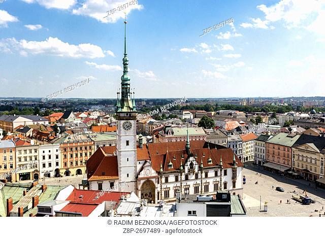 Town Hall Tower, Main Square Horni namesti, Olomouc Region Hana, South Moravia, Czech Republic