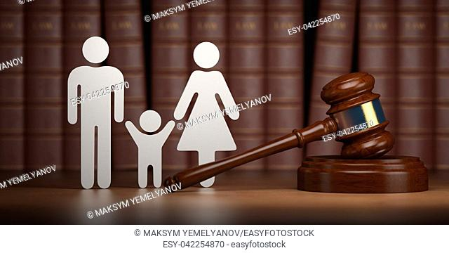 Familty law. Gavel and shapes of men, women and child with books. 3d illustration