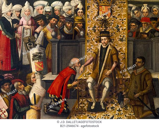 Spain, Vizcaya, Basque Country, Guernica. 'The Hand-Kissing ceremony' or 'Swearing od Allegiance of the Fueros to Ferdinand the Catholic', Oil on canvas