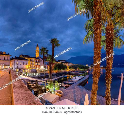 Ascona by night in the Ticino