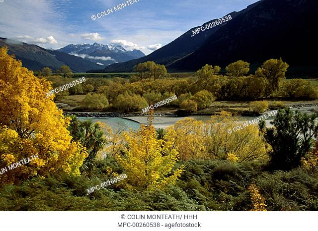 Autumn colors in Rees Valley above Glenorchy, Central Otago, New Zealand