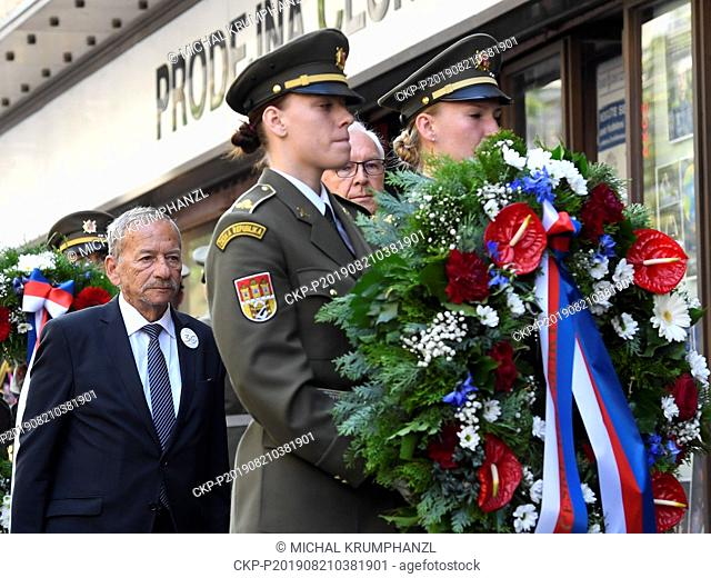 President of Senate of the Parliament of the Czech Republic Jaroslav Kubera, left, and Senator Jiri Drahos attend an act of reverence to honour the memory of...