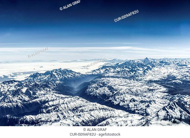 Aerial view of snowy mountains, eastern China, East Asia