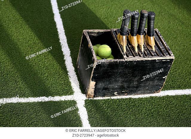 Tennis equipment for exercise. Queen Elizabeth. Cunard Passenger ship