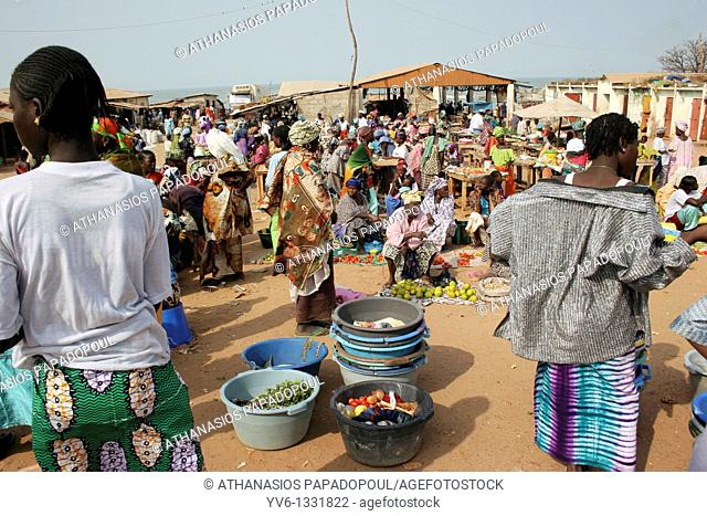 Busy Vegetables Fish And Food Market On Beach Crowded With Mostly Women And Children, Tanji Village, Tanji, Gambia, Africa