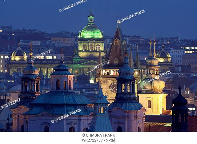 czech republic, prague - towers of the old town and national musem at dusk