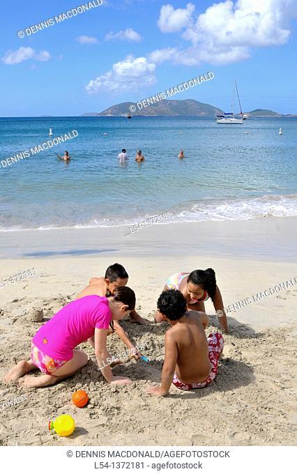 Cane Garden Bay Beach Tortola BVI Caribbean Playing in Sand
