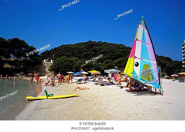 Menorca - View of the beach at Cala Santa Galdana