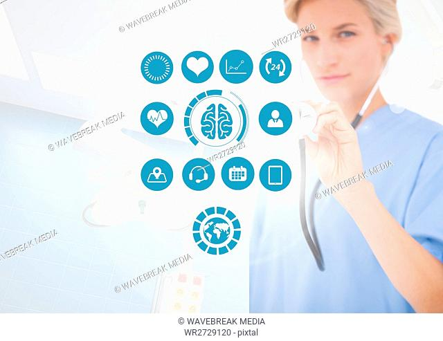 Female doctor working with stethoscope and medical icons on interface screen