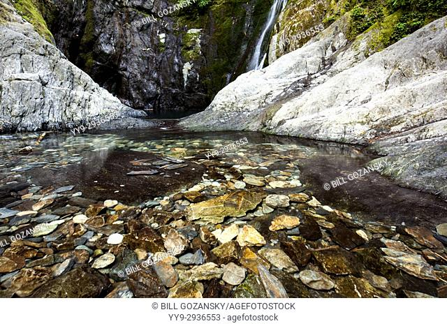 Clear pool at base of Niagara Falls - Goldstream Provincial Park - Victoria, Vancouver Island, British Columbia, Canada