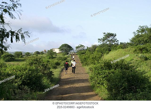 PUNE, MAHARASHTRA, INDIA, September, People take morning walk near swaminarayan hills