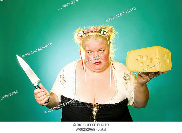Germanic woman with knife and cheese wedge