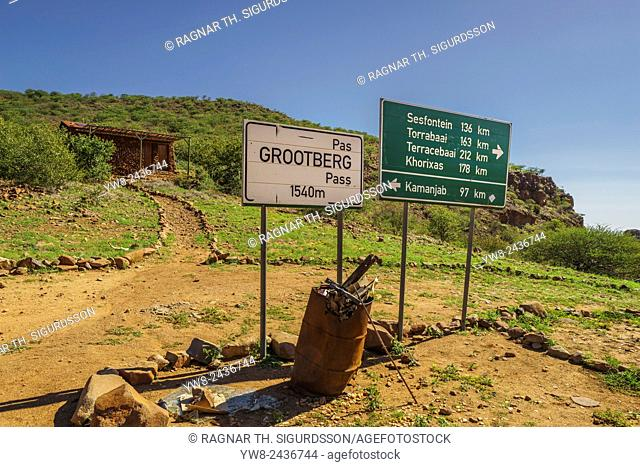Road signs by Etendeka Mountain Lodge, Namibia, Africa