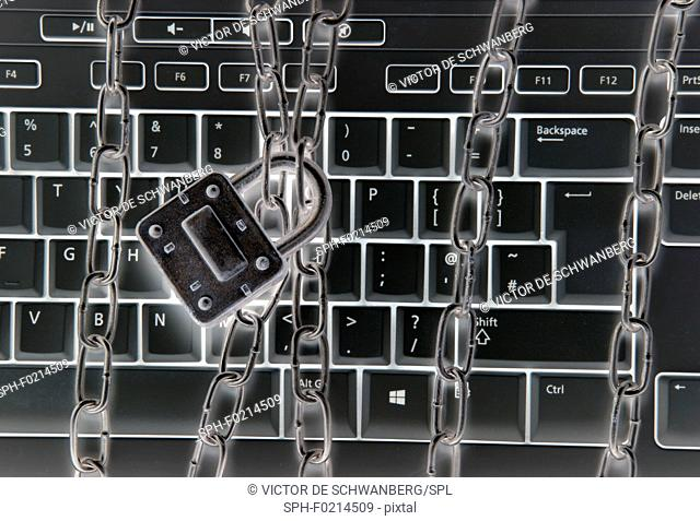 Computer keyboard with metal chains and padlock