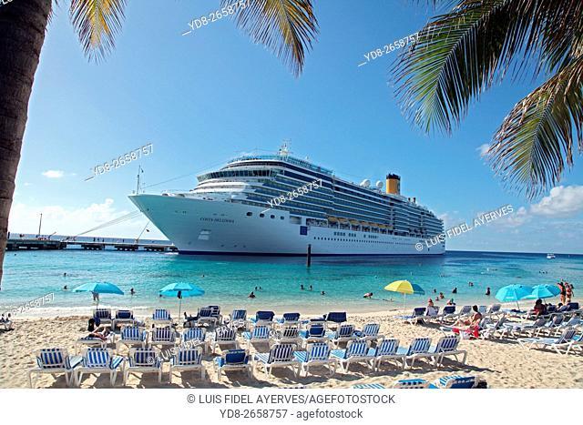 Costa Cruises cruise docked in the port of Grand Turk, Turks islands, British Overseas Territory, Caribbean