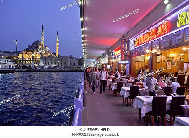 Galata bridge at Golden Horn , Istanbul, Turkey , Europe