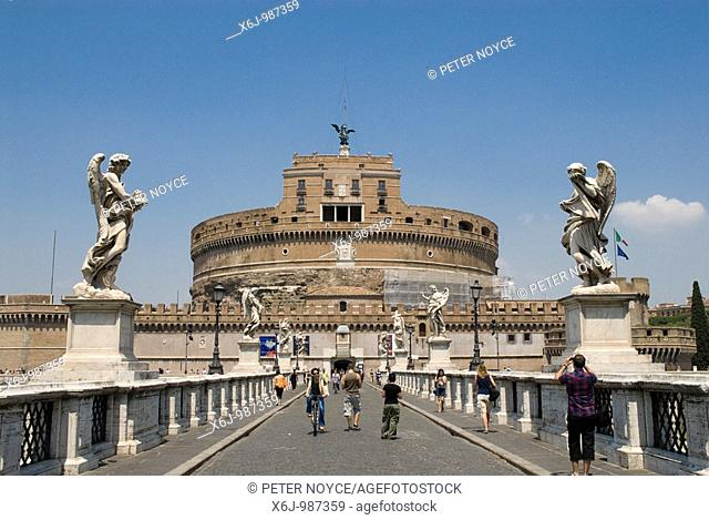 Castel Sant' Angelo, Castle Saint Angelo from the Ponte Sant' Angelo by the Tiber in Rome