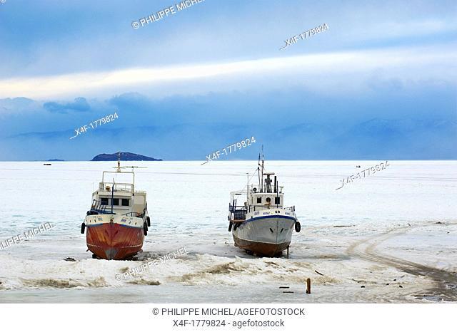 Russia, Siberia, Irkutsk oblast, Baikal lake, Maloe More little sea, frozen lake during winter, Olkhon island, frozen Harbour of Khoujir