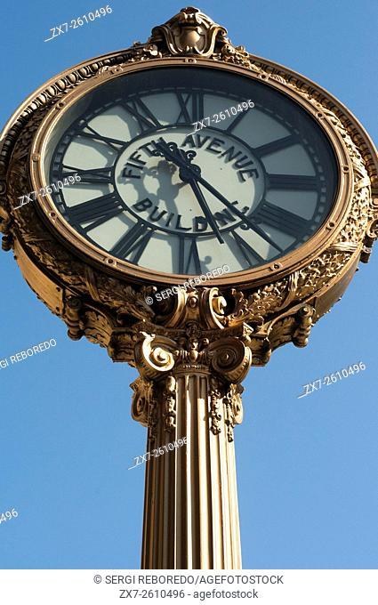 Famous clock in Flatiron district next to Flatiron Building in Manhattan, New York