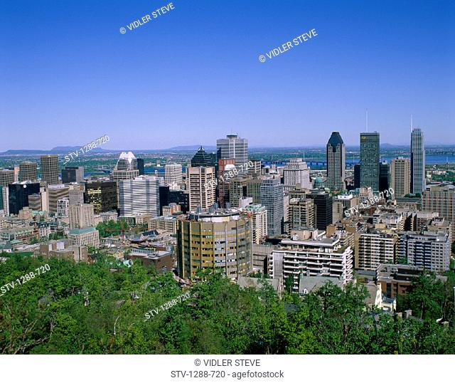 Buildings, Canada, North America, City, Crowded, Downtown, Holiday, Horizon, Landmark, Montreal, Quebec, Skyline, Skyscrapers, T