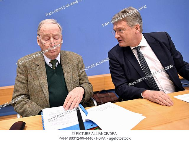 12 March 2018, Germany, Berlin: Alexander Gauland (l) and Joerg Meuthen, leading politicians in the Alternative for Germany (AfD)