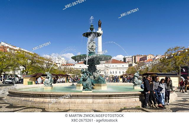 The Square Rossio or Praca Dom Pedro IV. Lisbon (Lisboa) the capital of Portugal. Europe, Southern Europe, Portugal, March