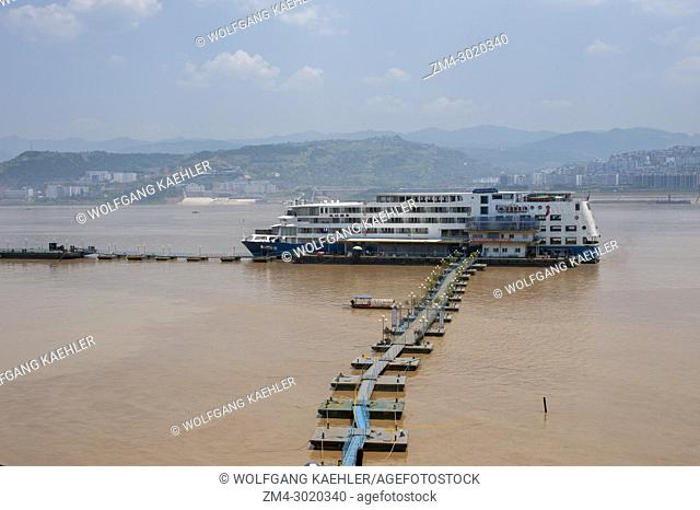 The cruise ship MS Yangzi Explorer is docked at the city of Fengdu on the Yangtze River in China