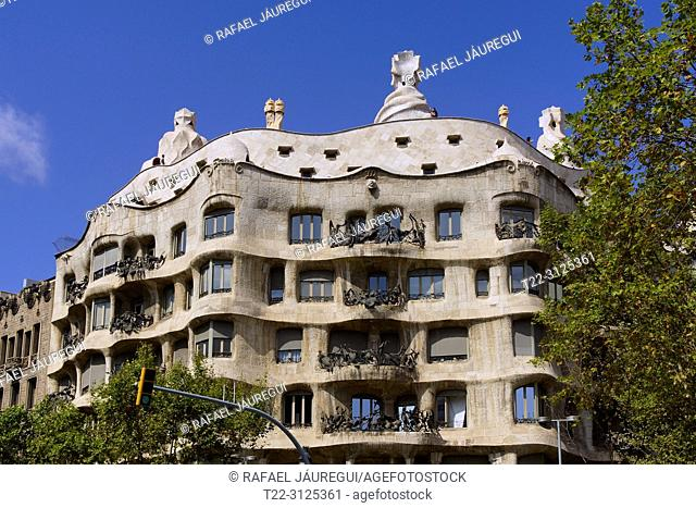 Barcelona (Spain). Facade of La Pedrera-Casa Milà in the city of Barcelona