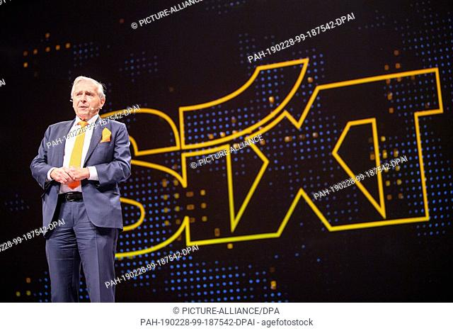 28 February 2019, Bavaria, München: Erich Sixt, CEO of the car rental company Sixt, speaks at the presentation of a new mobility platform of the car rental...