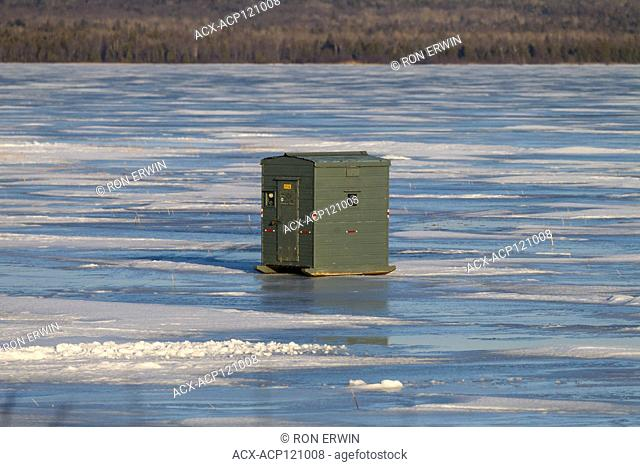 Ice fishing hut on Lake Wolsey, Manitoulin Island, Ontario; Canada