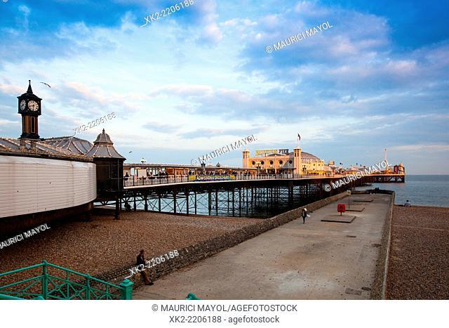 Pier and clock in Brighton, UK