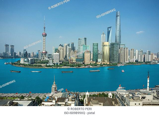 Elevated cityscape with oriental pearl tower in skyline and Huangpu river, Shanghai, China