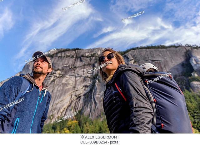Rock climber couple on Malamute, Squamish, Canada