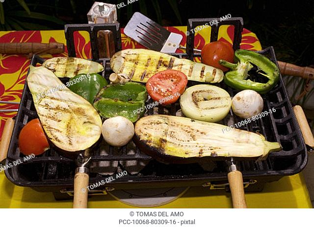 Barbecue scene, vegetables on the grill
