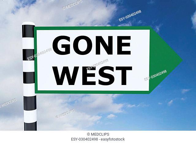 Render illustration of Gone West Title on road sign