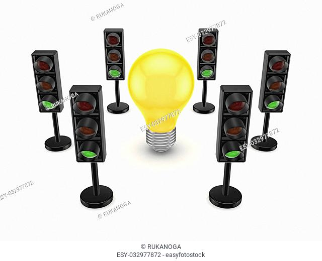 Traffic lights around yellow lamp.Isolated on white background.3d rendered