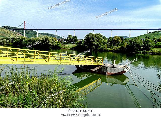 DEU , GERMANY : Hochmosel Bridge across Mosel river near Uerzig , 05.09.2018 - Uerzig, Rhineland-Palatinate, Germany, 05/09/2018