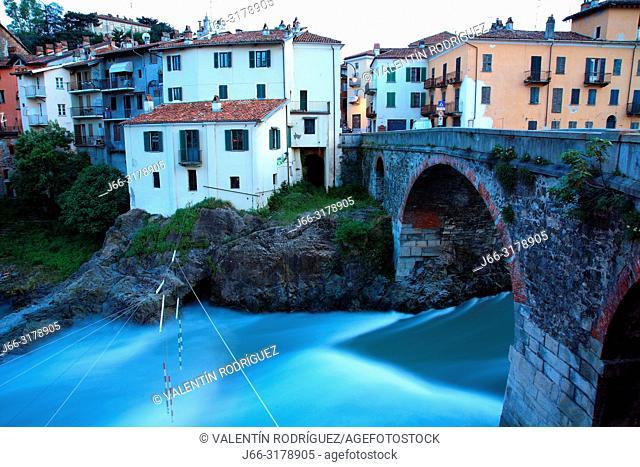 Vecchio bridge over the Dora Baltea river. Roman bridge. Ivrea. Italy
