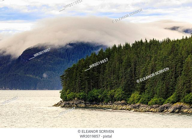 Mist, rocky shoreline and forest, Inian Islands, Icy Strait, between Chichagof Island and Glacier Bay National Park, Alaska, United States of America