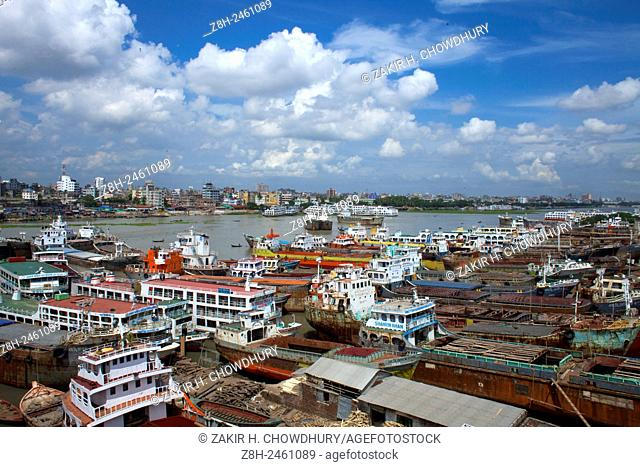 DHAKA, BANGLADESH - 17th June : Wide view of shipyard are in the bank of the river Buriganga near Dhaka.
