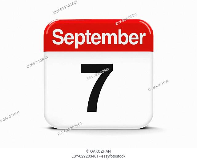 Calendar web button - The Seventh of September, three-dimensional rendering